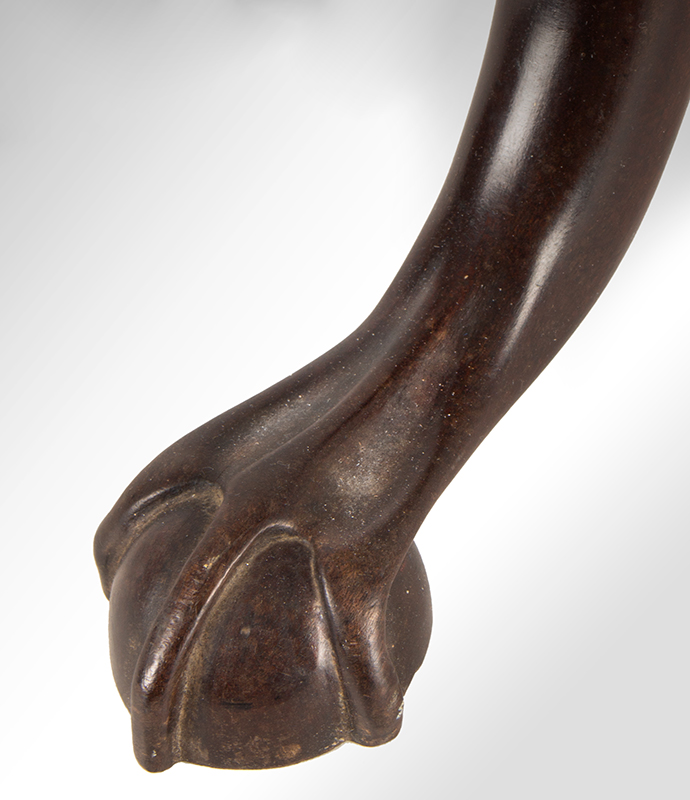A Period Chippendale Candlestand, Circular Top, Dished Edge, Claw & Ball Feet Probably Thomas Burling, New York, Circa 1760-1780 Mahogany, foot detail