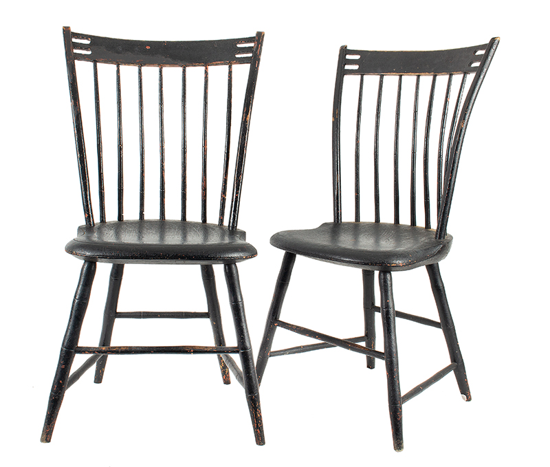 Pair, Clothespin Windsor Side-Chairs, Branded: P. Neal, Black over Red Paint Unknown, circa 1810 Full height, comfortable, entire view