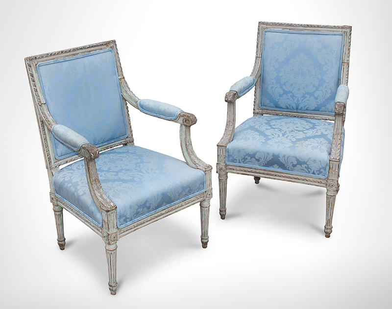 Vintage French Louis XVI Carved & Upholstered Cabriolet Armchairs Unknown Maker, 19th Century Timeless Classical Styling, entire view