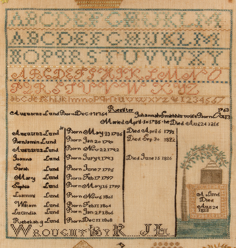 Antique Needlework Sampler & Family Record, Rebecca Lund, New Hampshire Rebecca J. Lund, Dunstable, New Hampshire (Now Nashua), detail view 1