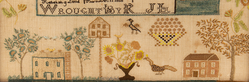 Antique Needlework Sampler & Family Record, Rebecca Lund, New Hampshire Rebecca J. Lund, Dunstable, New Hampshire (Now Nashua), detail view 2