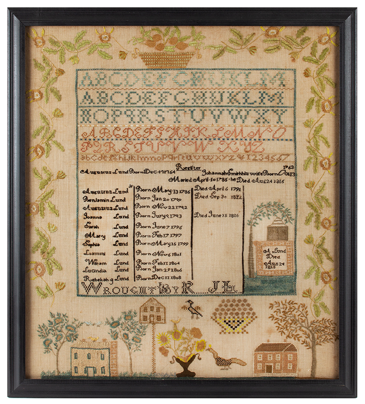 Antique Needlework Sampler & Family Record, Rebecca Lund, New Hampshire Rebecca J. Lund, Dunstable, New Hampshire (Now Nashua), entire view 1