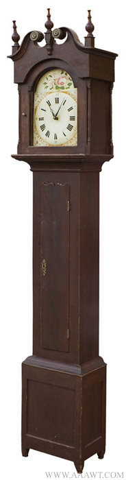 Antique Painted Case Tall Clock, Probably Pennsylvania, Circa 1825 to 1840, angle view