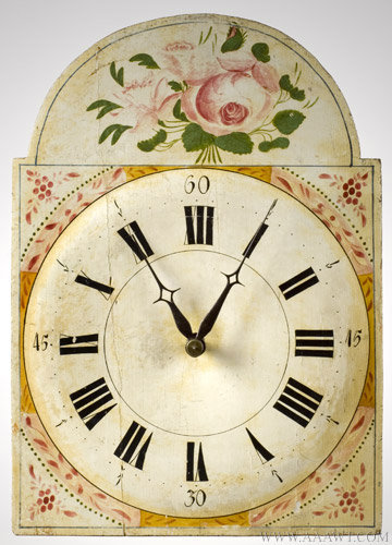 Antique Painted Case Tall Clock, Probably Pennsylvania, Circa 1825 to 1840, face detail