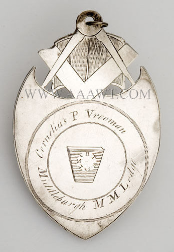 Masonic Jewel, Silver, Cornelius Vrooman, Middleburgh MM Lodge (Otsego/Schoharie Masonic District) New York, entire view