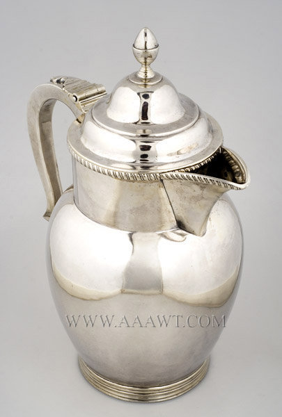 Silver Jug, High Domed, Lidded, Staffordshire Form