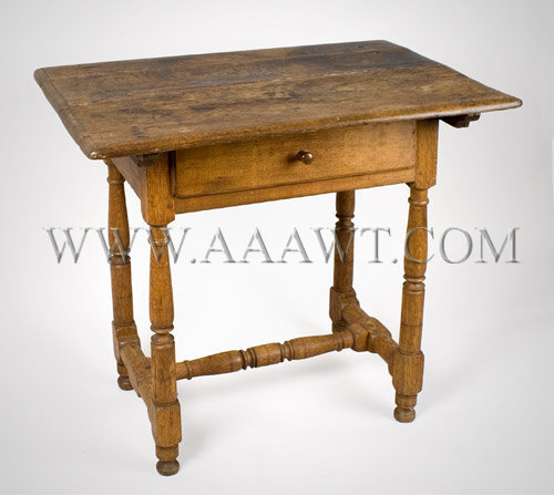 Stretcher Base Tavern Table Pennsylvania Circa 1710-1740, angle view