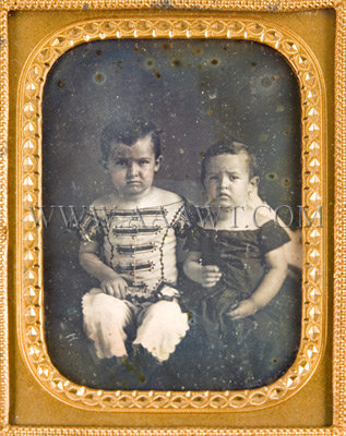 Daguerreotype of Two Boys One Holding a Musical Instrument Quarter Plate, entire view