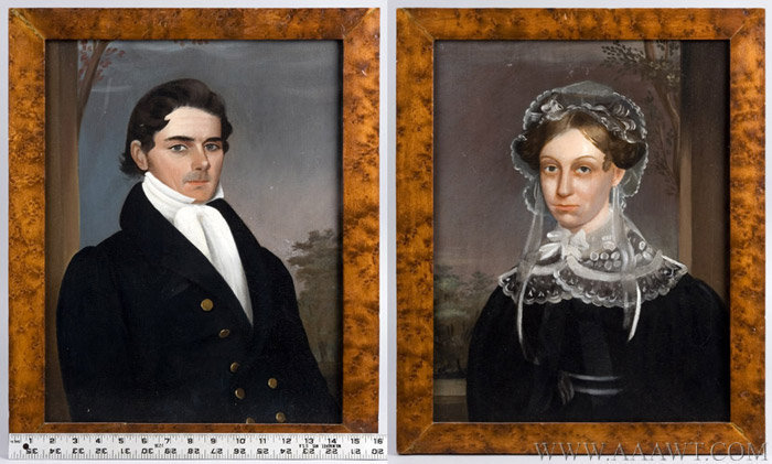 Pair of Antique Oil on Panel Portraits, Early 19th Century, with ruler for scale