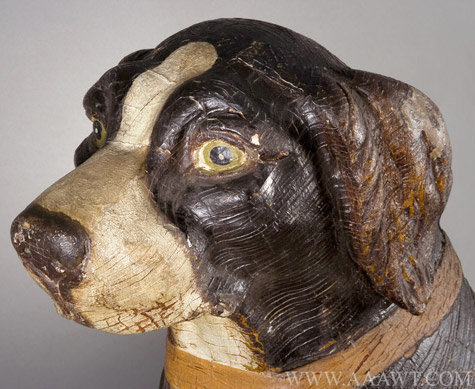 Antique Carousel Dog Figure by Herschell Spillman, New York, head detail 1