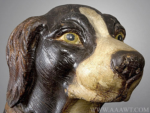 Antique Carousel Dog Figure by Herschell Spillman, New York, head detail 2