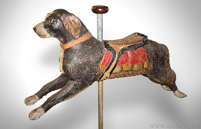 Antique Carousel Dog Figure by Herschell Spillman, New York, facing left view