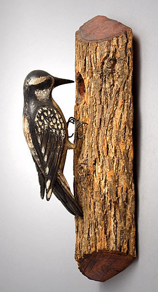 Antique Carving, Bird on Trunk, Painted Decoration, side view