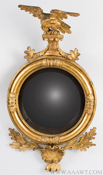 eagle convex mirror antique federal solid wood bullseye eagl