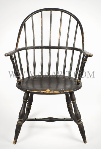 Windsor Sack Back Armchair, Original Surface History Rhode Island or Costal Connecticut, Circa 1780 to 1800, entire view