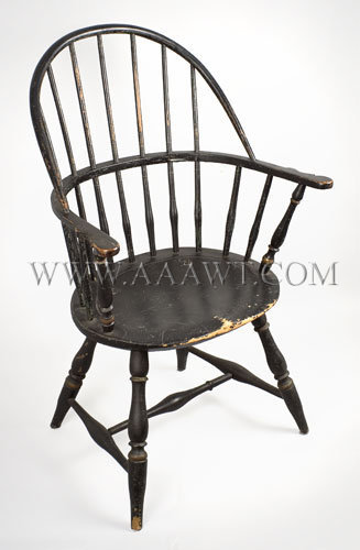 Windsor Sack Back Armchair, Original Surface History Rhode Island or Costal Connecticut, Circa 1780 to 1800, angle view