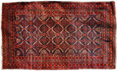 Antique Oriental Rug, Red and Blue, entire view
