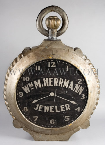 Antique Trade Sign, Jeweler's Shop, Circa 1900, Watch Form