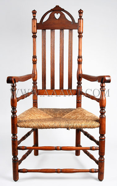 Heart and Crown Arm Chair Connecticut, probably Milford or Fairfield area Maple, ash and poplar Circa 1720 to 1750, entire view