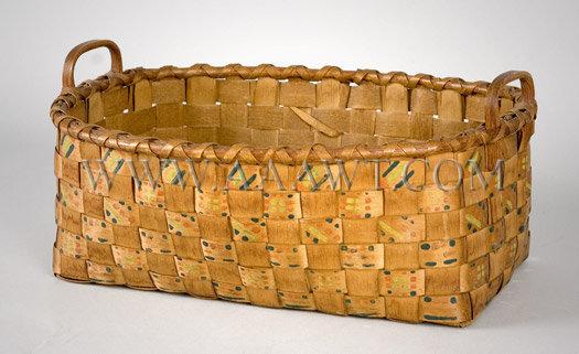 Wood-Splint Basket Woodlands Indian Circa 1880-1900, entire view