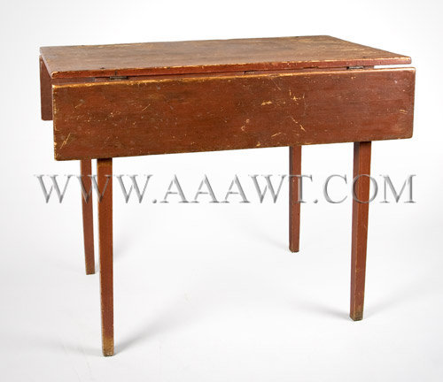 Country Pembroke Table New Hampshire Old Red Paint, white pine Circa 1810, entire view