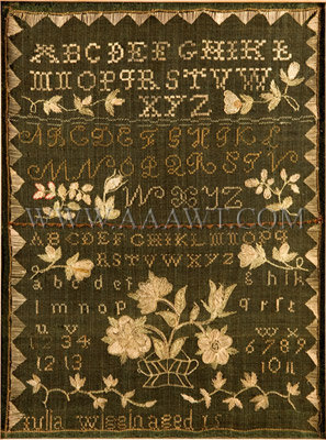 Antique Needlework, Green Linsey Woolsey Sampler by Julia Wiggin, age 15, close up view