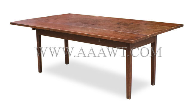 Six Foot Harvest Table in Red Paint 19th Century, angle view