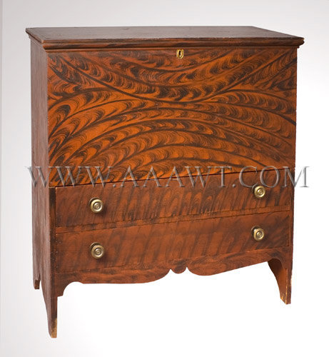 Painted Blanket Chest New England Circa 1810-1820, entire view