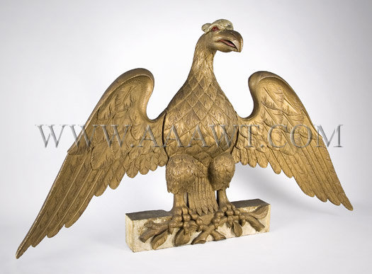 Antique Carving, Eagle, Gilt and Painted, angle view