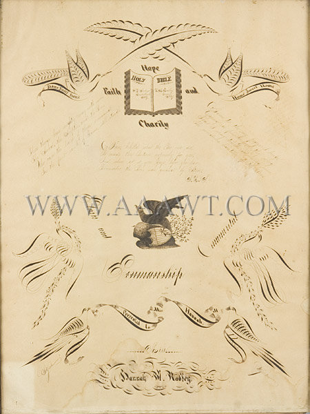 Antique Calligraphy, Girl Penmanship, Presented to Miss Hannah, close up