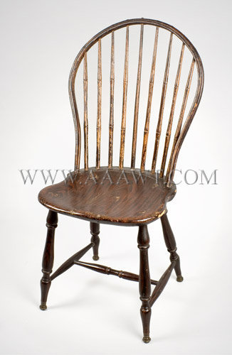 Bow Back Windsor Side Chair Brass Capped Feet...old Paint. Anonymous Circa  1810   SOLD