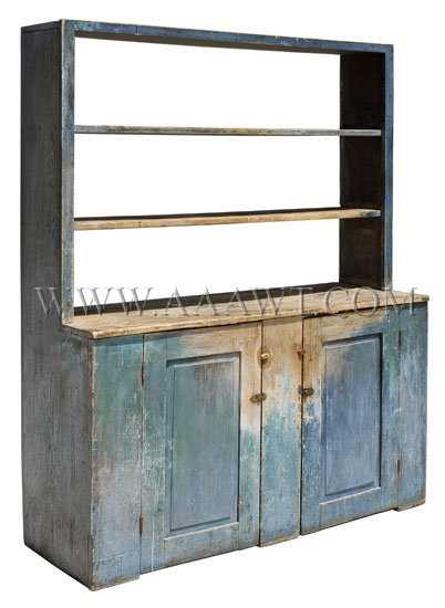 Scarcely Encountered Open Top Step Back Pewter Cupboard in Blue, angle view
