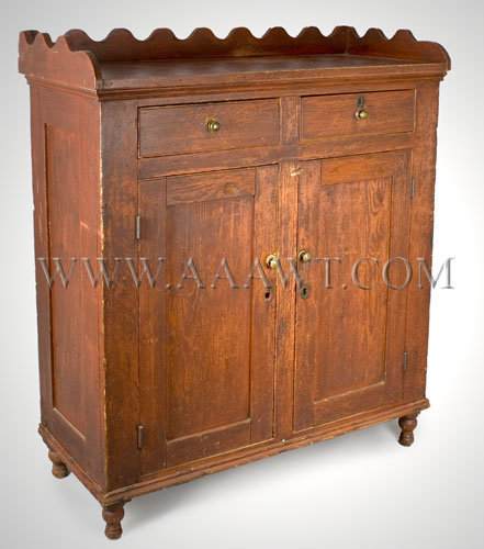 The scalloped gallery above the case which is of mortis and tenon  construction and features flat panels; two short drawers above a pair of  conforming ... - Antique Furniture_Cupboards, Built-in Cupboards, Hanging Cupboards