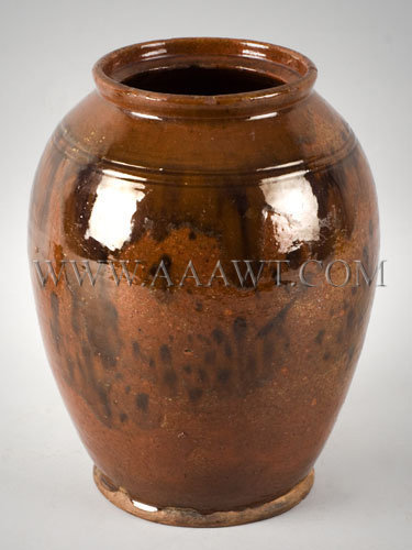 Ovoid Redware Jar New England 19th Century, entire view