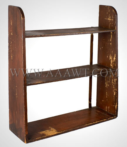 Hanging Wall Shelf Old Red Paint...canted sides New England 19th Century, entire view
