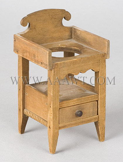 Antique Toy, Bedroom Suite, Labeled Samuel Hersey, washstand detail