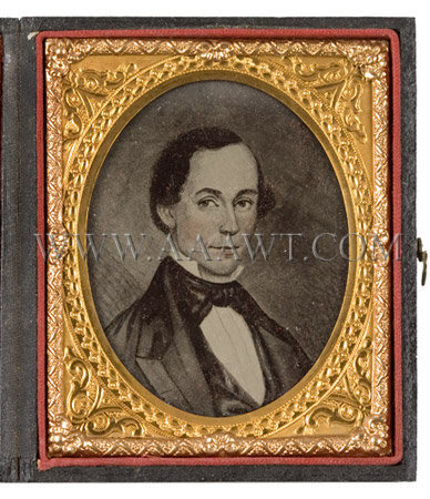 Folk Portrait Of A Gentleman Probably a Miniature Circa 1845, entire view