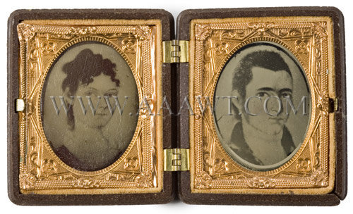 Rare Pair of Miniature Folk Portraits of a Young Attractive Couple