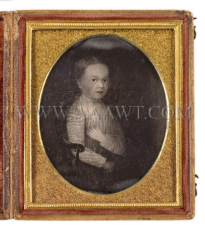 Folk Portrait of a Child Seated in a Paint-Decorated Armchair American Circa 1830, entire view
