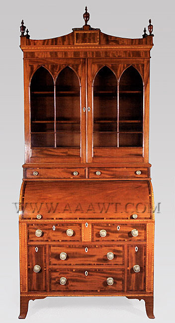 Federal Cylinder Secretary and Bookcase with Cornice  Attributed to the Shop of Thomas Seymour  Circa 1815, entire view