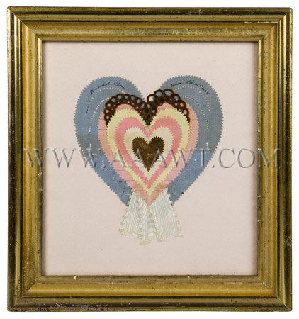 Antique Love Token, Hannah Chase Ward, Paper and braided hair, entire view