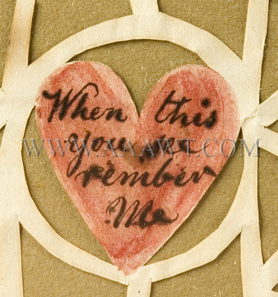 Antique Love Token, Friendship Token, Cutwork and Watercolor, J.W. Rogers, heart detail 1
