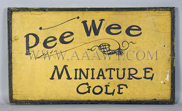 Antique Trade Sign, Miniature Golf Sign, 19th Century
