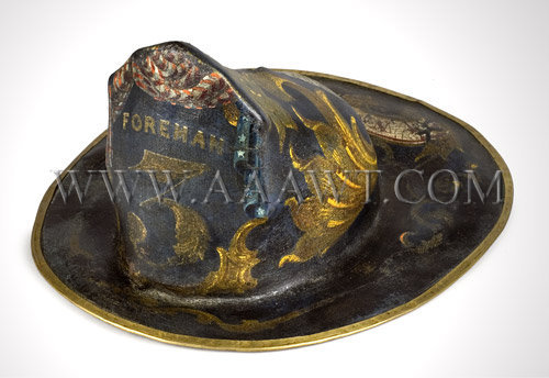 Exceedingly Rare and Outstanding  Pressed Beaver Fur  Painted Fire Helmet  Late 18th Or Early 19th Century, entire view