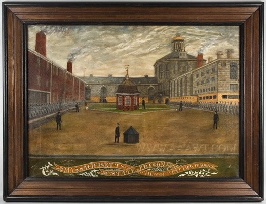 Painting, View of Massachusetts State Prison at Noon  Avery and Dwight Artists  Charlestown, Massachusetts  1886, entire view