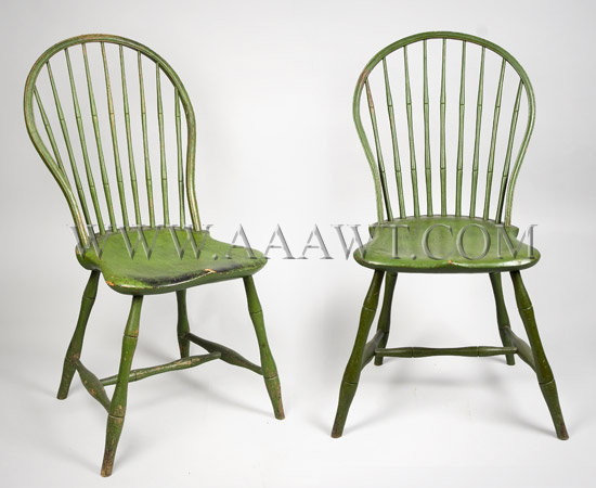 Pair of Windsor Bow Back Side Chairs New England In Later Green Paint Circa 1800, pair view