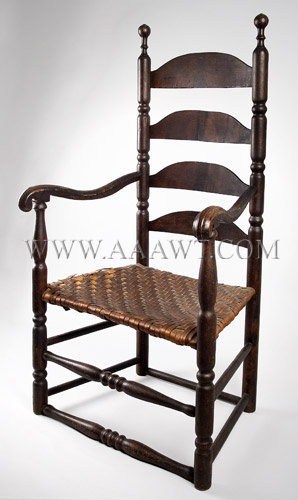 New England Slat-Back Armchair...in old surface Mixed Woods Second half-18th century, angle view