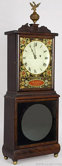Antique Massachusetts Shelf Clock by Aaron Willard, Circa 1825, angle view