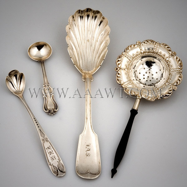 Group of Silver Spoons & Strainer, entire view