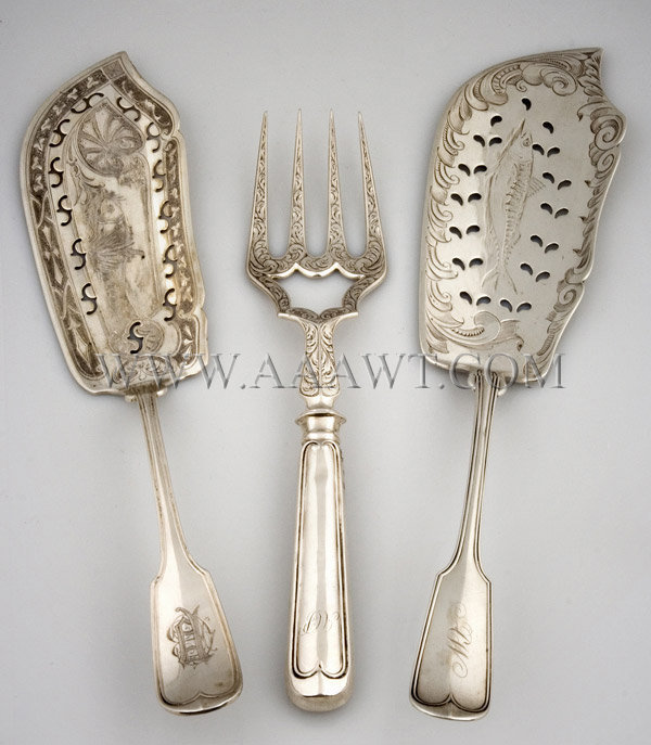 Group of Fish Slices & Fork, entire view